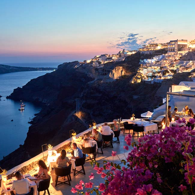 Petra Restaurant at Canaves Oia Hotel in Santorini  - Travelive Blog