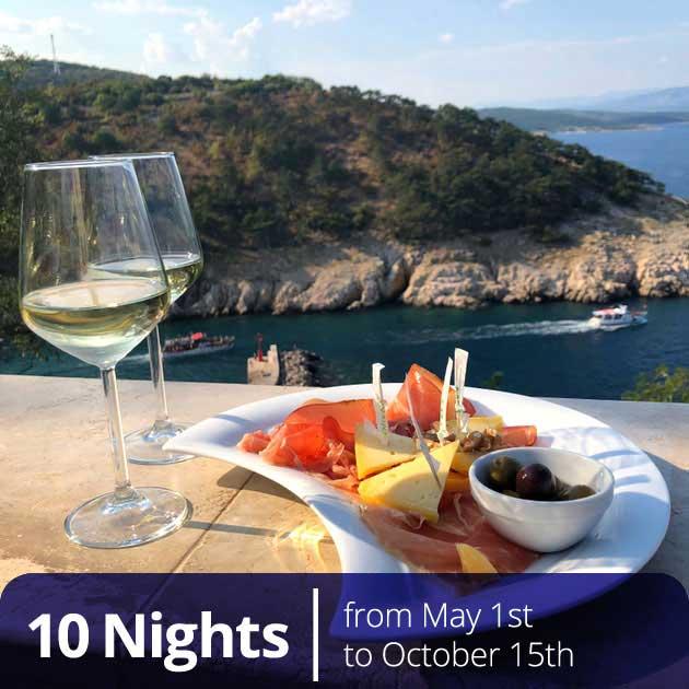 Croatian food platter in island setting – Romantic Croatian Honeymoons, Travelive