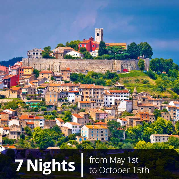 View of Motovun in Istria – Vacation Packages in Croatia Created by Travelive