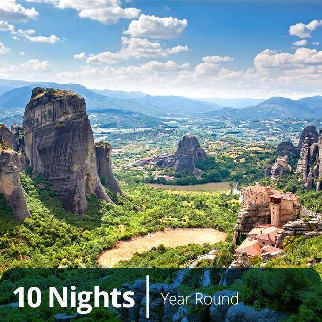 Meteora Panoramic Views – Mainland Greece and Crete Vacation Bundles, Travelive, Luxury Travel